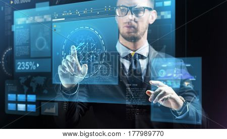 business, people, future technology and cyberspace concept - close up of businessman in suit with virtual screens projection over dark background