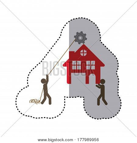 sticker colorful workers with pulley holding small house with two floors vector illustration