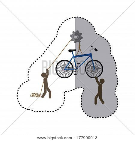 sticker colorful workers with pulley holding bicycle vector illustration