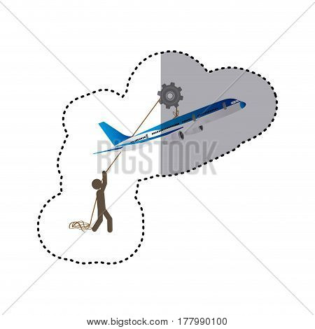 sticker colorful worker with pulley holding travel airplane vector illustration