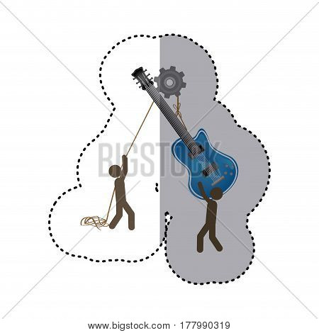 sticker colorful workers with pulley holding electric guitar musical vector illustration