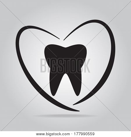 Tooth and heart icon, healthcare concept dentist icon