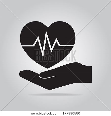 Heartbeat heart in hand icon. Protection or care medical service accident insurance concept