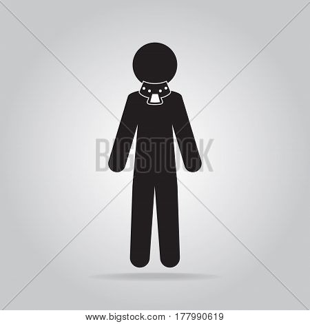 Injured neck and neck splint icon medical vector illustration