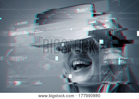 technology, augmented reality, cyberspace and people concept - close up of young woman with virtual headset or 3d glasses and screen projection