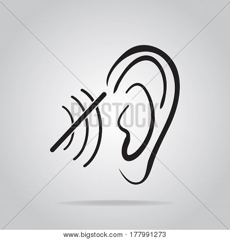 deaf icon hearing and ear icon disability to hear icon