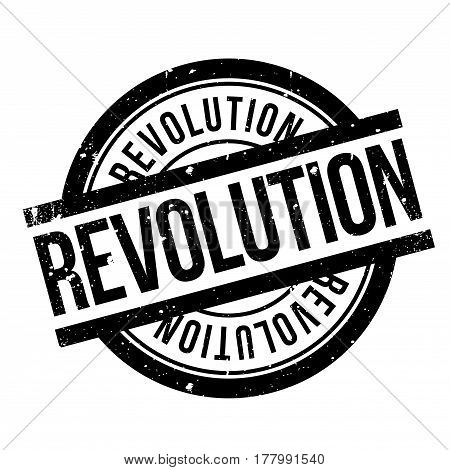 Revolution rubber stamp. Grunge design with dust scratches. Effects can be easily removed for a clean, crisp look. Color is easily changed.