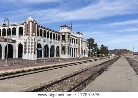 Barstow, California, USA - March 11, 2017:  Historic Barstow Harvey House train station in the Mojave Desert.