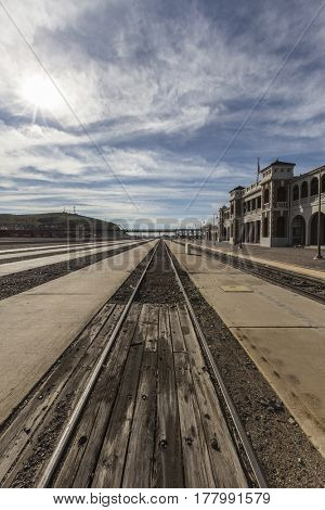 Barstow, California, USA - March 11, 2017:  Historic Barstow train station in the California Mojave Desert.