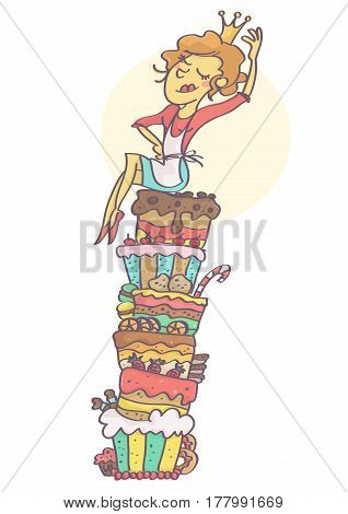 Funny vector cartoon with woman sitting on bunch of cakes in confident queen pose adjusting her crown