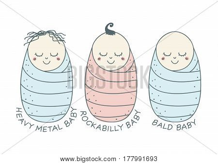 Funny and sweet set of three newborn babies with different hairstyles