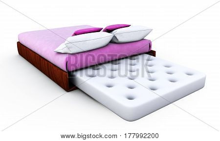 White Bed Mattress isolated on white background 3D render
