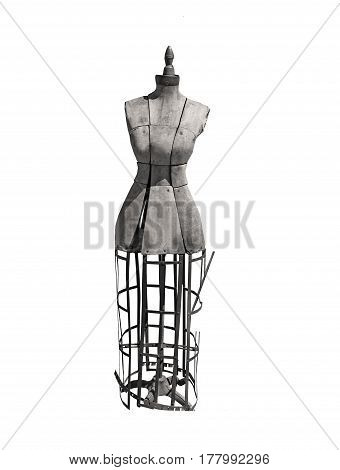 Antique dress form for seamstress in black and white