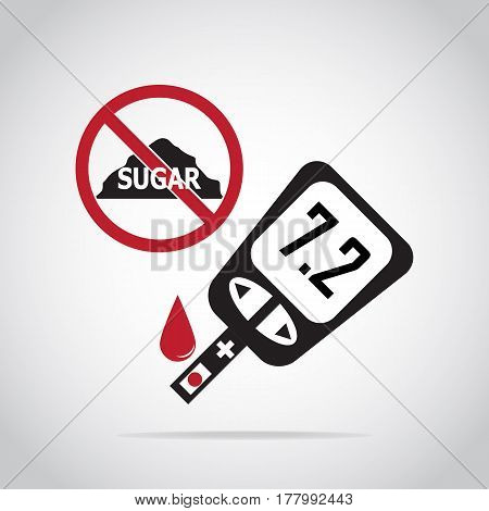 Diabetes icon blood drop to glucose test. Medical sign