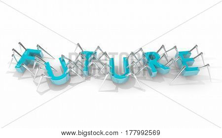 Future Word Spider Insect Letters New Technology 3d Illustration