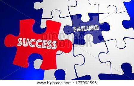 Success Vs Failure Words Puzzle Piece Filling Hole 3d Illustration