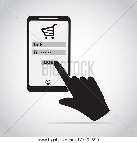 Smartphone and hand touching login for shopping online