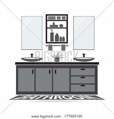 Bathroom and washbasin Bathroom interior concept illutration