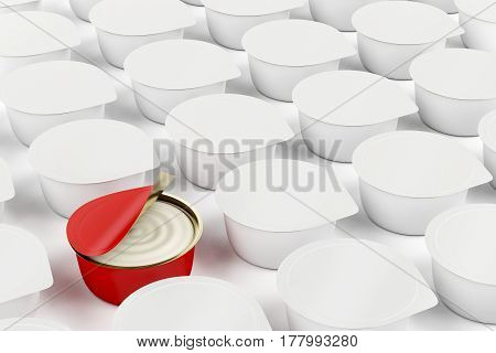 One different can with cream cheese butter margarine or other food, 3D illustration