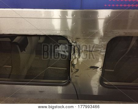 NEW YORK CITY - MAR 24 2017: New Jersey Transit Montclair line damage due to a collision with another train inside Penn Station New York. NJT has a poor safety record with several recent incidents