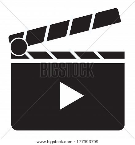 Clapper board icon on white background. Clapper board sign.