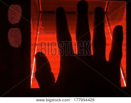 red cybersecurity digital fingerprint scanning on a green screen