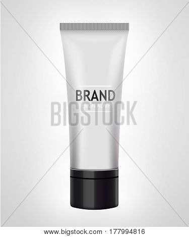 White tube mock-up for cream, tooth paste, gel, toner. Cosmetic concept. Vector illustration