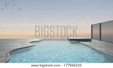 Infinity swimming pool terrace with sea ocean panorama, 3d illustration