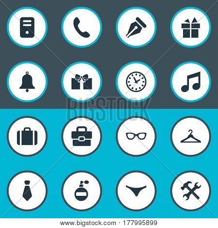 Vector Illustration Set Of Simple Instrument Icons. Elements Call Button, Underwear, System Unit And Other Synonyms Ring, Present And Panties.