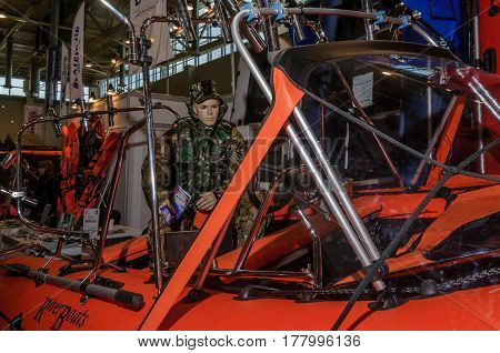 Moscow, Russia - February 25, 2017: Stand of rescuers boat at the exhibition Hunting and Fishing at VDNKh