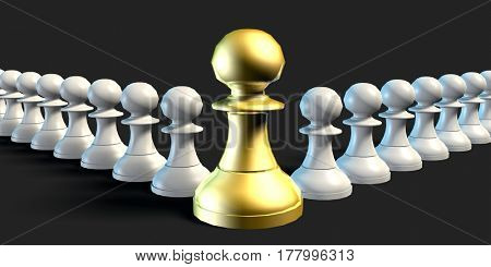 Employees Supporting Manager Business Chess Strategy Concept 3D Illustration Render