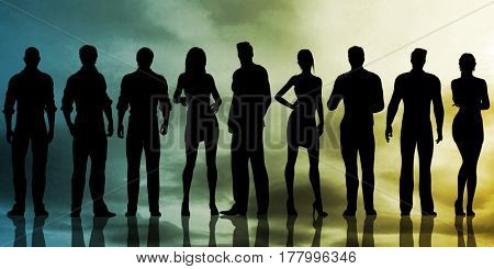 Business Team With Power Confident Pose as Abstract 3D Illustration Render