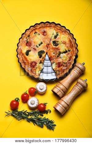 Pizza Or Vegetable Pie With Pepperbox And Saltcellar, Cherry Tomato