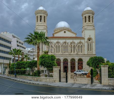 Agia Napa, beautiful church in the old town of Lemesos, Limassol, Cyprus.  A shot taken on a storymy afternoon in Spring.