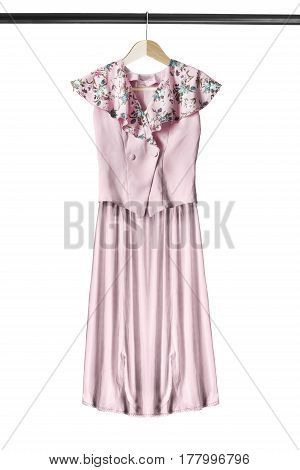 Pink silk suit on wooden clothes rack isolated over white