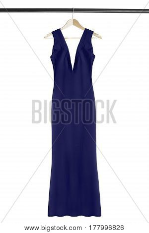Blue long silk formal dress on wooden clothes rack isolated over white