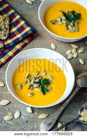 Pumpkin  Soup With Cream And Parsley
