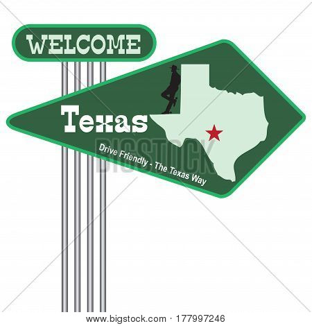 Abstract road sign Welcome to Texas. Vector illustration.
