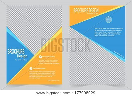 Blue and Orange Brochure template flyer design abstract template for annual report magazine poster