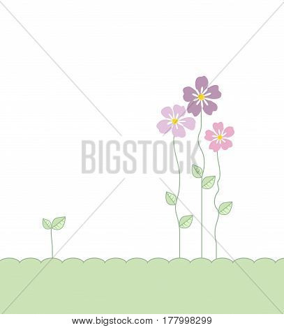 Vector illustration of floral decoration, romantic decoration flowers with leaves