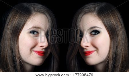 Portrait of a girl with good and bad makeup. Comparison