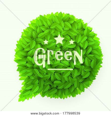 Green leaves circle speech bubble isolated on white background. Floral decoration element. Spring concept. Vector illustration