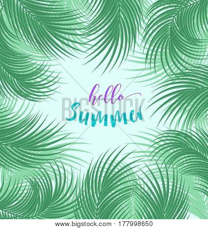 Vector tropical jungle background with palm tree leaves