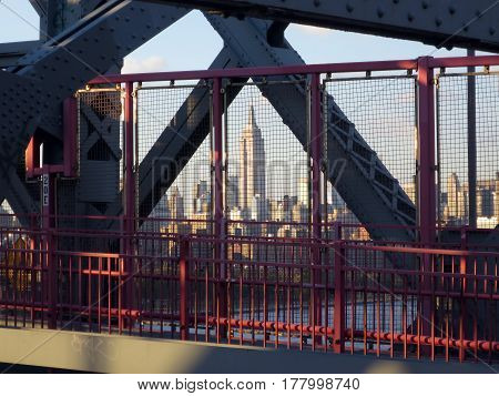 View of Manhattan skyline from the Williamsburg bridge.