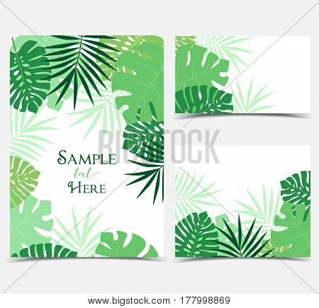 Vector illustration of green palm leaves background. Exotic invitations