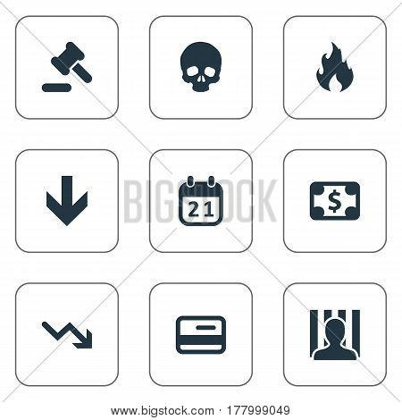 Vector Illustration Set Of Simple Trouble Icons. Elements Down Cursor, Plastic Card, Penitentiary And Other Synonyms Skull, Credit And Law.
