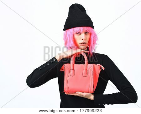 Fashionable Sexy Girl In Pink Wig Posing With Fashion Bag
