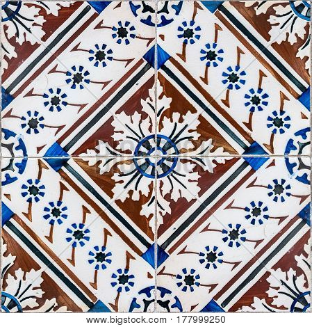 Closeup of old tiles detail abstract pattern.