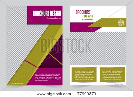 Yellow and Purple Brochure template flyer design abstract template for annual report magazine poster