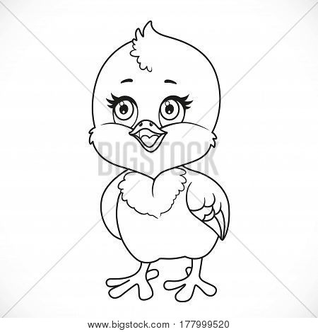Cute Little Baby Chick Outlined Isolated On A White Background